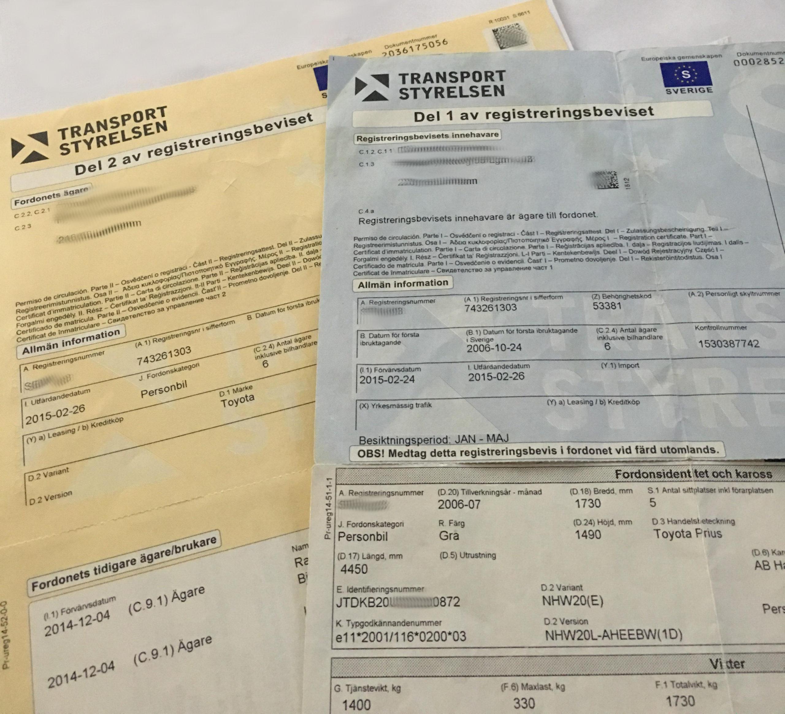 Szwedzki dowód rejestracyjny